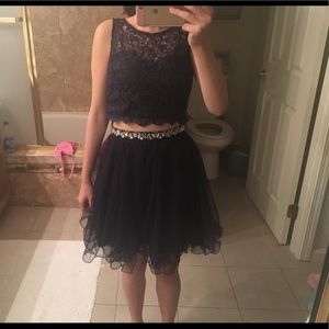 Blue homecoming dress with lace detail !